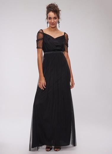 People By Fabrika Tül Abiye Elbise Siyah